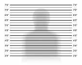Police lineup or mugshot background with anonymous shadow. Vector illustration template poster