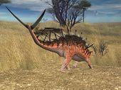 kentrosaurus in savanna poster