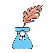 cute inkpot with feather to writing manuscript, vector illustration poster