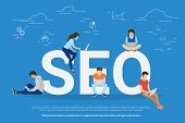 SEO concept vector illustration of people using laptops for developing and optimizing website or mobile app. Flat modern design of young programmers coding a new project and analysing search engine poster