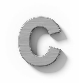 Letter C 3D Metal Isolated On White With Shadow - Orthogonal Projection