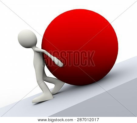 3d Illustration Of Person Pushing A Red Big Ball Uphill Showing Determination. 3d Human Man Characte