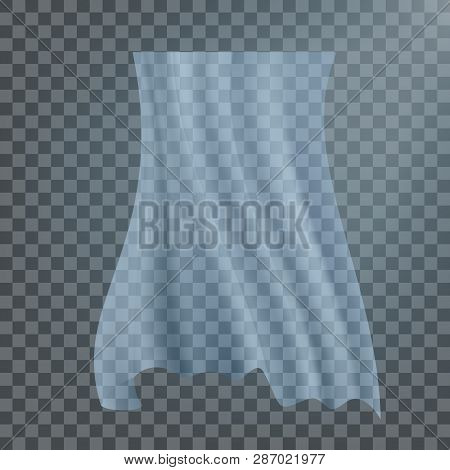 Fluttering White Cloth Vector. Viel Silk. Fabric Curtain. Clear Drape. Realistic Clear Material Illu