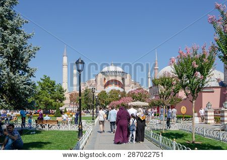 Istanbul, Turkey - September 03, 2017:  View Of  Ayasofya  Istanbul, Turkey.  People Are Visiting Th