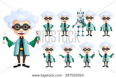 Scientist Vector Character Set. Old Genius Male Inventor Holding Test Tube With Various Gestures, Po