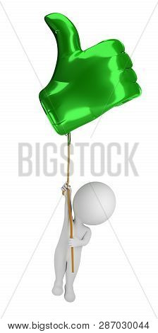 3d Small People - Flying In A Balloon Like. 3d Image. Isolated White Background.