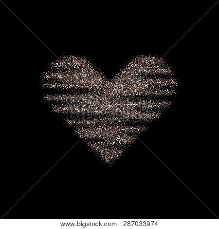 Silver Sparkles Heart. Valentines Day Vector Sparkles And Glitters. Holiday Design.