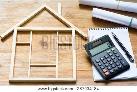Remodeling Construction Valuation Of Home Renovation Abstract With Calculator And Plans