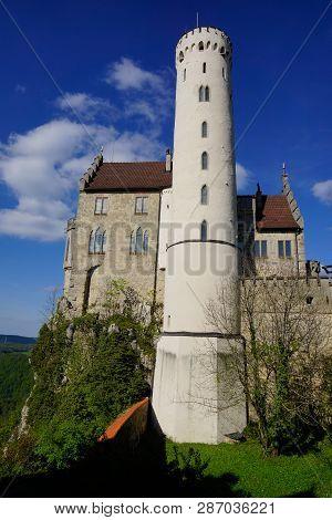 Huge Tower Of Lichtenstein Castle Blue Sky