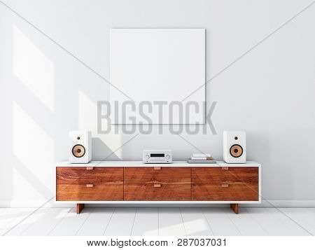 Square white canvas Mockup hanging on the wall, hi fi micro system on bureau,3d rendering poster