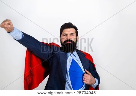 Businessmen. Superman In Red Cape Showing Blue Shirt. Career Growth. Success. Business Growth. Save