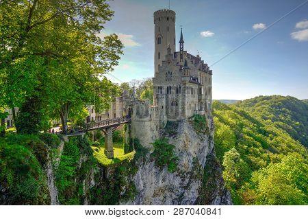 Lichtenstein Castle On Summer Day With Blue Sky