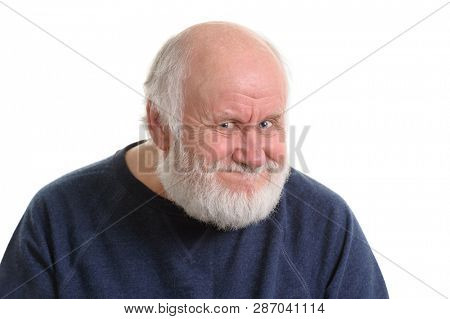 portrait of old man with insidious tricky fake smile, isolated on withe