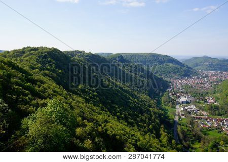 Swabian Alb Forest Mountain And Town