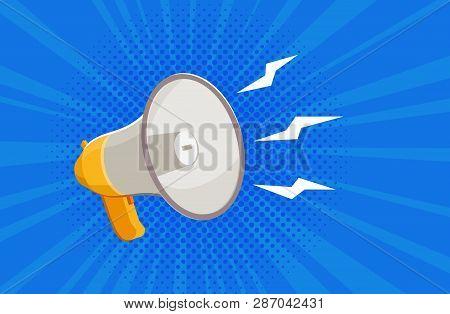 Megaphone, Bullhorn. News, Attention Banner. Vector Illustration