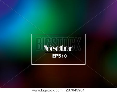 Abstract Green And Blue Blurred Gradient Background With Light. Nature Backdrop. Vector Illustration