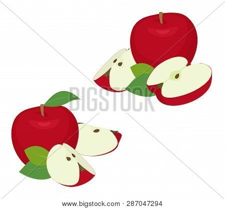 Apple Pieces Set. Whole Red Apple Fruit With Slice, Cut, With Leaves On White Background As Package