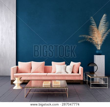 Modern Dark Blue Living Room Interior With Pink Color Couch And Golden Decor,wall Mock Up,3d Rillust