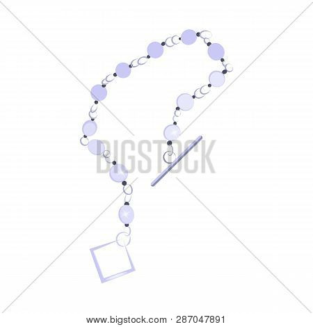 Bead Necklace. Precious Gem, Thread, Bracelet, Clasp. Jewelry Concept. Vector Illustration Can Be Us