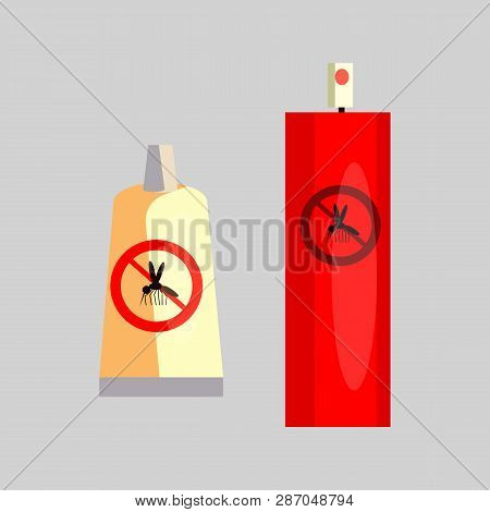 Insect Repellents. Tube, Spray, Aerosol. Camping Concept. Vector Illustration Can Be Used For Topics