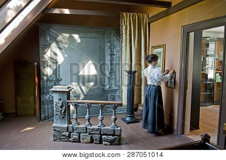 Bergen, Norway - July 20, 2018: The Photographic Atelier In Gamle Old Bergen Museum - The Open Air M