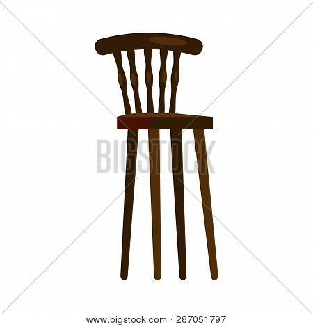 High Wooden Chair. Nursery, Kitchen, Retro Chair. Chairs Concept. Vector Illustration Can Be Used Fo