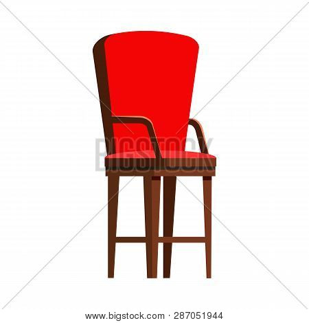 Red Wooden Chair Flat Icon. Seat, Arm Chair, Kitchen Chair. Chairs Concept. Vector Illustration Can