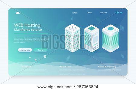 Internet Datacenter Connection Concept. Hosting Server Isometric, Administrator Of Web Hosting. Comp