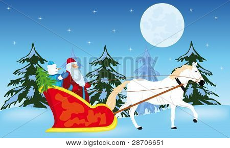 Santa Claus Goes To Sled On White