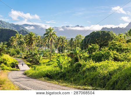Volcanic Hills, Mountains, Valleys, Volcano Mouth Of Beautiful Green Lush Ovalau Island Overgrown Wi