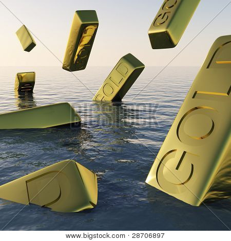 Gold Bars Sinking  Showing Depression Recession And Economic Dow