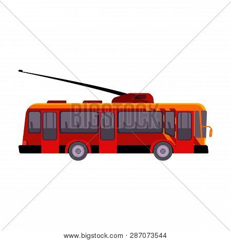 Red Tramway Illustration. Auto, Driving, Electro Vehicle. Transport Concept. Vector Illustration Can