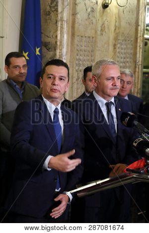 Bucharest, Romania - December 28, 2016: Sorin Mihai Grindeanu (l) Is The New Proposal For The Prime