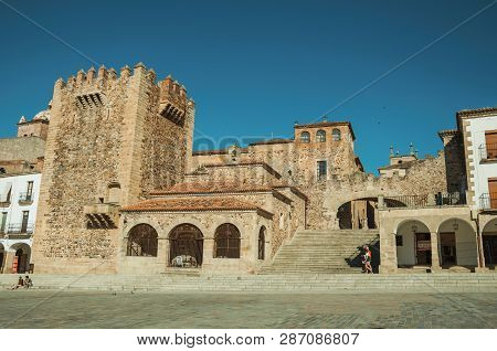 Old Buildings In The Main Square With Stairs At Caceres