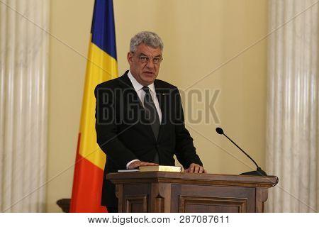 Bucharest, Romania - June 29, 2017: Mihai Tudose, The New Prime Minister Of Romania, Takes Part At T