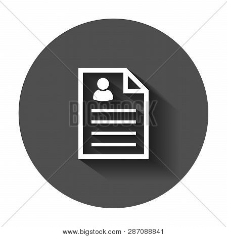 Resume Icon In Flat Style. Contract Document Vector Illustration With Long Shadow. Resume Business C