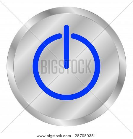 Mettal Button Power With Blue On White Background