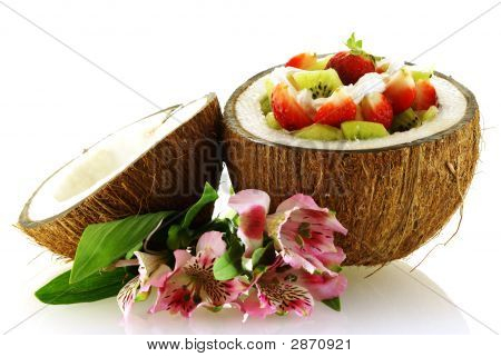 Fresh Fruit Salad Served In Half Coconut