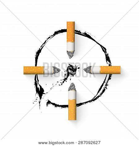 The Aim Is Drawn With A Cigarette Butt. Stop Smoking Concept. Nicotine Addiction. With Drop Shadows