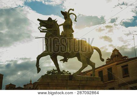 Pizarro Equestrian Statue In The Plaza Mayor Of Trujillo