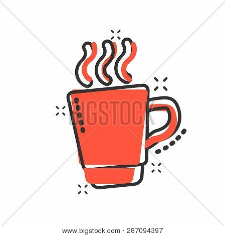 Coffee, Tea Cup Icon In Comic Style. Coffee Mug Vector Cartoon Illustration Pictogram. Drink Busines