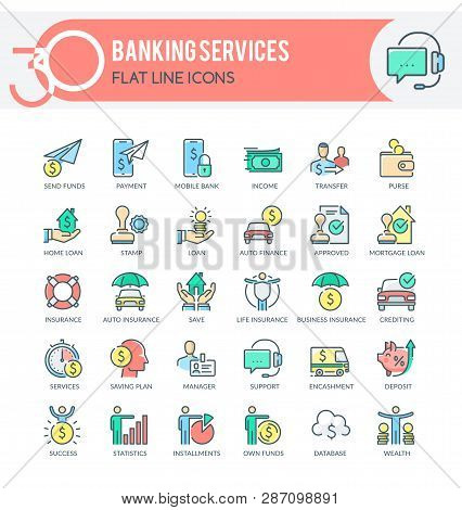 Set Of Filled Outline Multicolor Icons On Following Themes - Finance, Banking, Banking Services, Mob