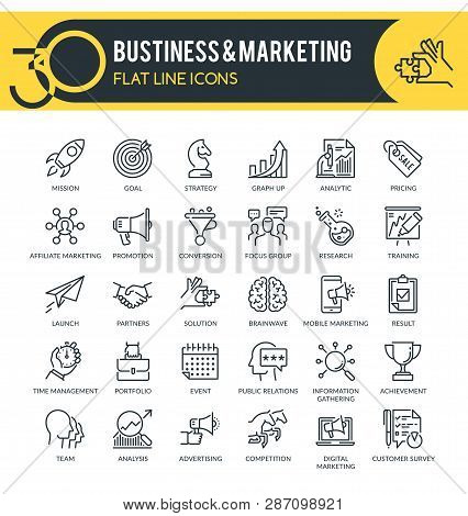 Set Of Modern Outline Icons Of Business, Marketing, Market Research, Strategy, Planning And Other. E