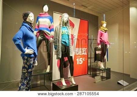 DUSSELDORF, GERMANY - CIRCA SEPTEMBER, 2018: display window of a C&A store in Dusseldorf. C&A is an international chain of fashion retail clothing stores.