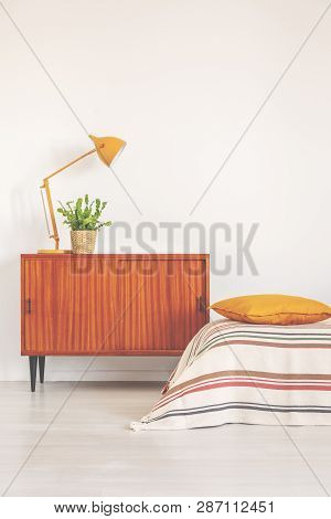 Yellow Lamp And Plant In Pot On Vintage Cabinet In Elegant Bedroom Interior, Real Photo With Copy Sp