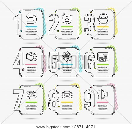 Infographic template with numbers 9 options. Set of Undo, Atm and Parcel tracking icons. Versatile, Teapot and Developers chat signs. Car, Timer and Face id symbols. Vector poster