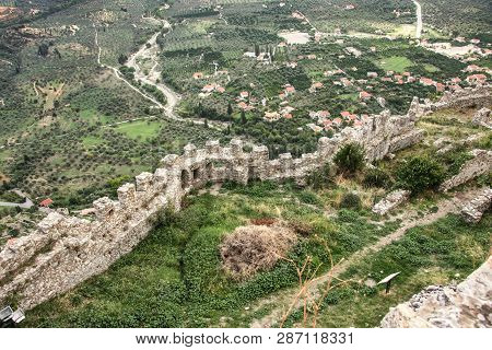 Ruins Of The Walls Of The Ancient City Of Mystra. Greece, Peloponnese