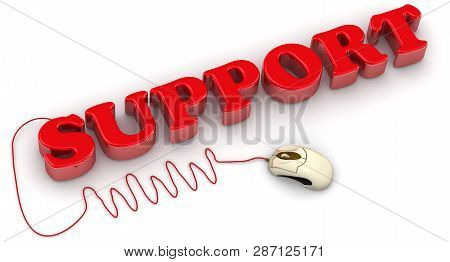 Support Text With Computer Mouse. Red Support Text And Www Connected To Computer Mouse On White Back