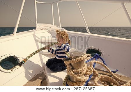 Little Helper. Boy Adorable Sailor Striped Shirt Yacht Travel Around World. Child Cute Sailor Help W