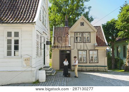 Bergen, Norway - July 20, 2018: The Manual Printing In Gamle Old Bergen Museum - The Open Air Museum